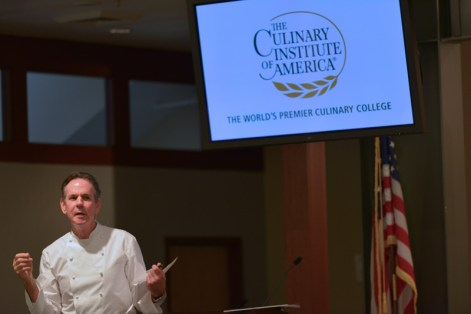 Chef Thomas Keller discussing the nine course menu at his restaurant, The French Laundry.