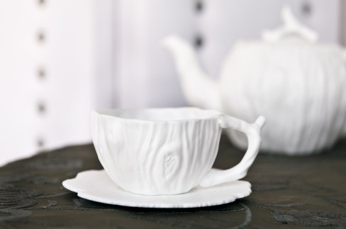 Porcelain cup and saucer set, $25. Available at BEE