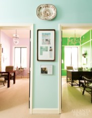 "In the corridor, this particular shade of aqua ""turned out to be much more neutral than we expected,"" says Huff. Also neutral is the office""s carpet, which helps to unify the contrasting spaces."