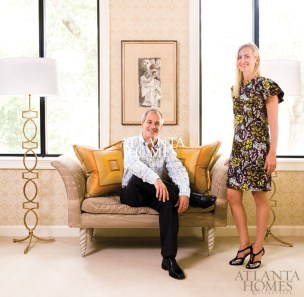 "Designers Will Huff and Heather Dewberry specified comfortable upholstered furniture, as well as striking art and accessories, to create a reception area as stylish as any residential living room. The sofa was purchased years ago for the designers"" very first designer showhouse room. Dewberry credits much of the success of her 11-year design partnership with Huff to the fact that ""we started together so young and we""ve grown up together."" The two are so in-step with each other that they often return from separate shopping trips with the same fabrics."