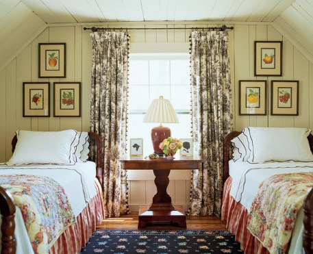 83) Ted Cleveland turned an upstairs alcove into a charming lodge-style bedroom.