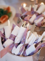 Simple linen napkins were wrapped in lavender ribbon.