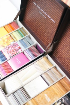 Boxes of leather samples created with interior designers in mind for Jerry Pair Leather.