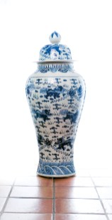 "Oversize porcelain ""General"" ginger jar, $814. Available at Lush Life Home & Garden"