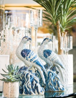 Blue-and-white porcelain falcons, $425 for the pair. Available at Lush Life Home & Garden