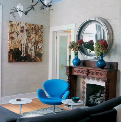 82) Dashes of blue add verve to a living room by Walter Mazzanti.