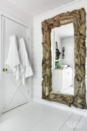 Reclaimed wood mirror from hayneedle.com.