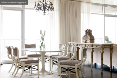 "Teresa recalls purchasing the vintage Saarinen pedestal table on eBay during a trip to the beach, in the online auction site""s early days; she scored the set of vintage dining room chairs from a local dealer who had snapped them up from a nearby estate sale."