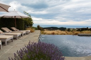 After a dip in Cape Kidnappers's heated infinity pool, rest in the shaded poolside cabana.