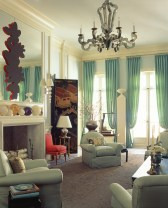 97) John Oetgen used a maximalist approach in the colorful design of this living room.