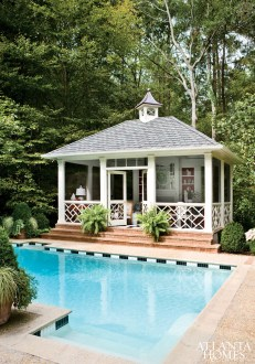"""Not wanting this freestanding structure to look like a typical porch, designer Craig Duncan created an interior that was more like a formal space but still comfortable. Everything""""furniture and fabrics included""""was chosen for its ability to withstand the elements."""