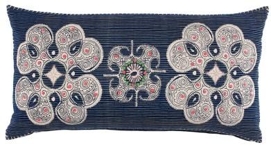 "John Robshaw Hmong Collection ""garland pillow,"" $200. Available at Gramercy Home, 2351 Peachtree Rd. NE, Atlanta 30305. (404) 846-9244; shopgramercy.com"