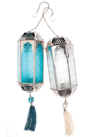 """The Indian Garden Co. """"Jewel Garden"""" Lanterns in turquoise and pearl, $80 each. Available through Calypso St. Barth, (866) 422-5977; calypsostbarth.com"""