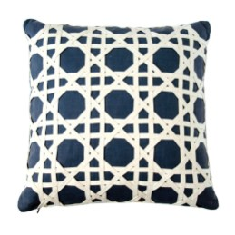 """Dransfield & Ross """"canning lattice overlay"""" pillow in navy/natural, $225. Available at Gramercy Home"""