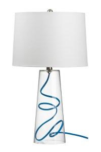 """Mack"" table lamp with blue cord, $89.95. Available at Crate & Barrel, 3393 Peachtree Rd. NE, Atlanta 30326. (404) 239-0008; crateandbarrel.com"