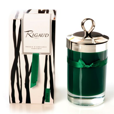 Rigaud candle in Cypress, $90. OwenLawrence, 1200 Howell Mill Rd. NW, Atlanta 30318. (404) 869-7360; owenlawrence.com; rigaud-paris.com