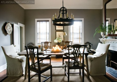 The dining room is one of the most traditional spaces in the Madison home. Its mix of rustic textures and classic lines pays tribute to the sense of history evident throughout, and preserved so avidly in this storied Southern town.
