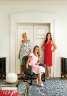 Designers Margaret Bosbyshell and Clary Bosbyshell Froeba, of Margaux Interiors Ltd., with homeowner Gigi Rouland in the home's living room.