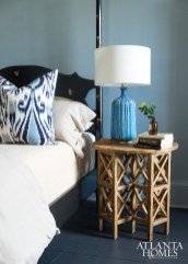The blue bedside lamp is by Aerin.