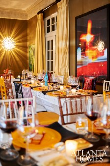 The Boomershines' formal living room was transformed into a dining space to accommodate the event's 35-plus guests.