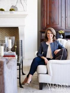 Designer Lauren DeLoach in her clients' living room at the Mandarin Oriental, Atlanta Residences.
