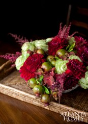 The clients' still life painting inspired this arrangement's palette.