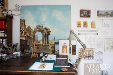 A glimpse inside Biskin's Athens studio.
