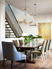 As frequent entertainers, the family wanted plenty of seating, especially during the holidays. The Charles Stewart Company chairs and Kravet head-of-the-table seats are covered in an indoor/outdoor fabric, a saving grace for party fouls. Crystal chandeliers from Circa Lighting add rays of elegance.