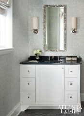 Millner took a playful approach, creating a fresh, fun retreat with an equally tailored powder room.