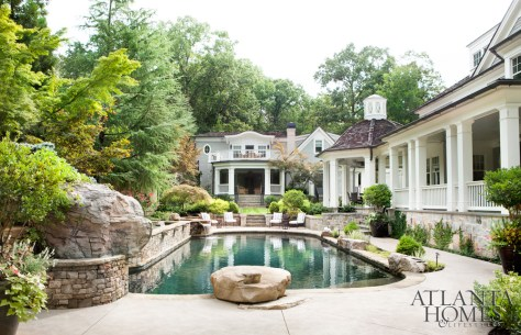 Entertaining spaces, an important consideration for the homeowner, abound with separate areas for dining, lounging and soaking in the lush landscape and pool.