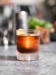 The Deep Red, made with rye, mezcal, vermouth, grapefruit, zucca and cynar.