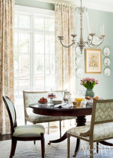 The breakfast nook scheme was inspired by the Bird & Basket drapery fabric by Bennison. A Baker Furniture table and chairs covered in a striped Carleton V fabric blend with benches covered in Rosemeade fabric by Travers.