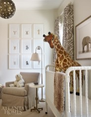 The safari-inspired nursery pays homage to the son's maternal South African roots. The drapery fabric is by Raoul Textiles through Grizzel & Mann.