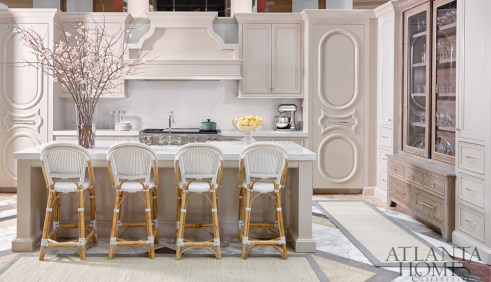 CABINETRY AND DESIGN Bell Kitchen and Bath Studio CABINETRY LIGHTING Rev-A-Shelf APPLIANCES Sub-Zero Wolf COUNTERTOPS Cambria through Construction Resources FABRICATION OF COUNTERTOPS Atlanta Kitchen SINK AND FAUCET Franke COUNTER Stools Serena & Lily bowl B.D. Jeffries