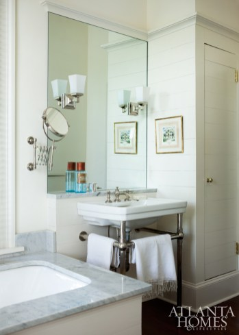 The master bathroom is a study in understated luxury. Watercolor by Rick Spitzmiller. Towels, Gramercy.
