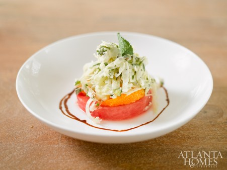 Watermelon salad with shaved fennel, orange and mint.