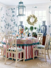 """Interior designer Mallory Mathison Glenn employs a mix of patterns, bold hues, blue-and-white porcelains, chinoiserie and sterling mixed with gold—""""all elements that I adore and use again and again,"""" she says."""