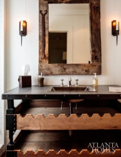 Millner enlisted Kevin Scanlon to transform an antique French rifle rack into a vanity