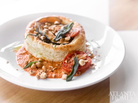 Squash galette, with gruyere, spinach, tomato and hazelnut.