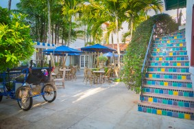 Along Worth Avenue, Palm Beach's luxurious retail district, hidden courtyards offer a charming spot to take a break from shopping