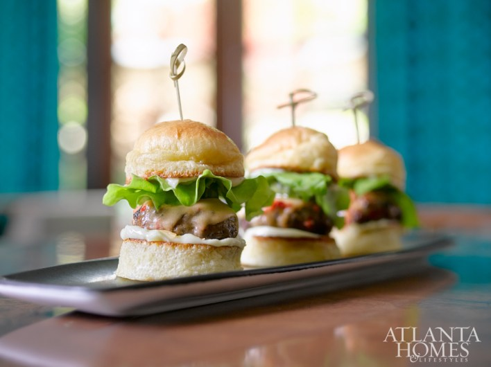 Atlas Sliders with ground Wagyu beef and smoked gouda-pimento cheese.