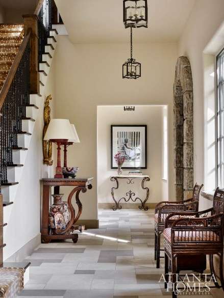 Carole Weaks incorporated prized pieces from the client's former residence in the foyer.