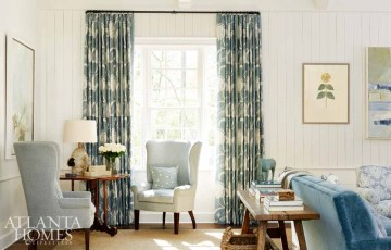 Architect Yong Pak and builder Michael Ladisic added interest to the family room addition through subtle architectural details such as shiplap planks placed on both the vertical and horizontal, and separated by chair rail molding.