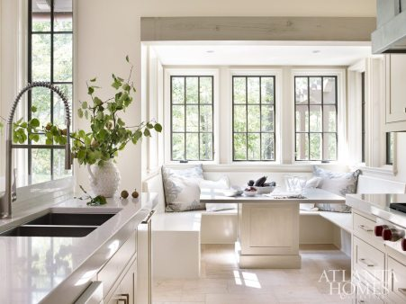 """""""We love simple kitchens that allow us to enjoy the view and provide adjacent seating in keeping rooms or booths."""""""