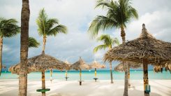 The resort sits on Palm Beach, one of the most beautiful swaths of beach in Aruba, where palapas abound and breathtaking sunsets are a nightly attraction.