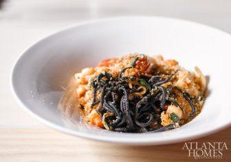 Squid ink tonnarelli with shrimp and calamari.