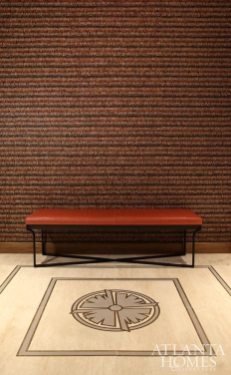 """The custom bench is Christian Liaigre. """"What sets this suite, and ultimately, THIS stadium apart is Arthur's love of design and support of the artisans."""" —SUZANNE Kasler"""