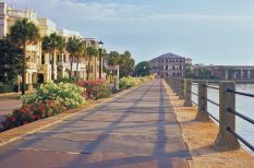 The Battery, a landmark seawall promenade along the Charleston Harbor.