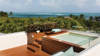 The Rooftop deck and spa is an ideal place to relax and enjoy a cocktail, with the beach view to the east and sunset view to the west—both at the same time.