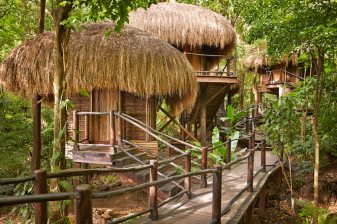 The Rainforest Spa is reminiscent of a Carib village.